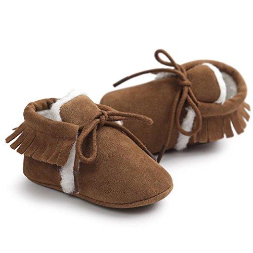 Ularma Flaum Babyschuhe Warm Quasten Schuhe Weiche Sohle Schön Krabbelschuhe Boots für 0-18 Monate Baby Braun