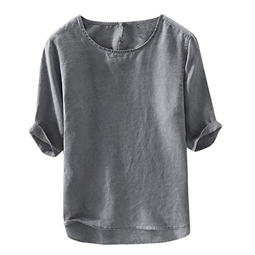 Celucke Oversize Leinen T Shirts Männer 3/4 Ärmel Sommer Strand T-Shirt Herren Rundhalsausschnitt Kurzarm Einfarbig Kurzarmshirt Mann Casual Leichte Bequem Atmungsaktives (Grau, XXL)