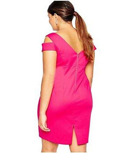 PU&PU Robe Aux femmes Moulante Simple,Couleur Pleine Col en V Au dessus du genou Polyester PINK-ONESIZE