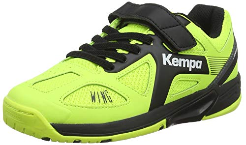 Kempa Unisex-Kinder Wing Junior Caution Hallenschuhe, Mehrfarbig (Fluo Gelb/Anthra/Schwarz), 34 EU (2 UK)