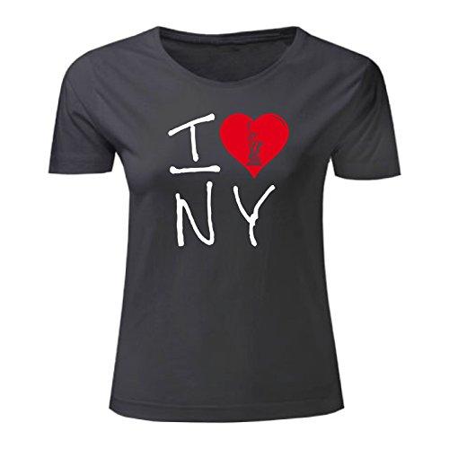 Art T-shirt, Maglietta I Love NY, Donna Nero