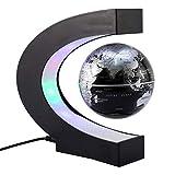 TOPINCN C Forma Magnetico Levitazione Galleggiante Rotante Globe LED con World Map Imparare Decorazione Della Ufficio Casa