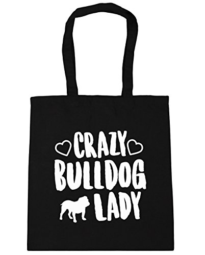hippowarehouse-crazy-bulldog-lady-tote-shopping-gym-beach-bag-42cm-x38cm-10-litres