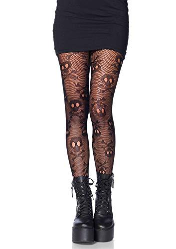 Eine Kostüm Lady Pirate - LEG AVENUE 9986 - Pirate skull net pantyhose, Einheitsgröße (Schwarz)