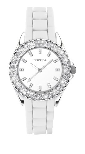 Sekonda Women's Quartz Watch with White Dial Analogue Display and White Silicone Strap 9901.27