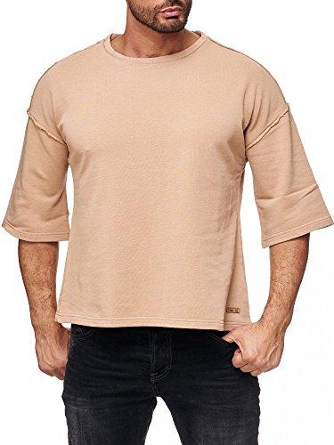 Red Bridge Herren Sweater 3/4 Oversize Shirt Basic Casual Fashion Sweatshirt Inside Out Long Sleeve Sweatshirt