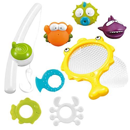 Eliasan 8pcs Badespielzeug Set für Kinder Badewanne Fun Toys Angelspiel mit Soft Rubber Water Tub Squirts Spoon-Net Geschenk für Kleinkinder Jungen Mädchen Kinder 4 Monate und bis (Boy Badewanne Spielzeug)