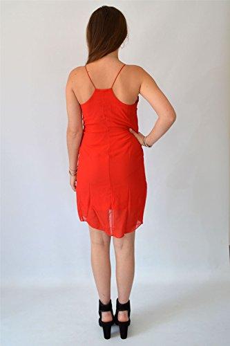 Sottoveste in chiffon rosso o nero | Mini abito largo setoso Rosso