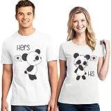 Marni's - 2 Camisetas para Parejas- Regalo para Novios por San Valentin Osos Panda Kawaii - 100% algodón- Regalos para tu Novia Originales (Hombre L + Mujer S)