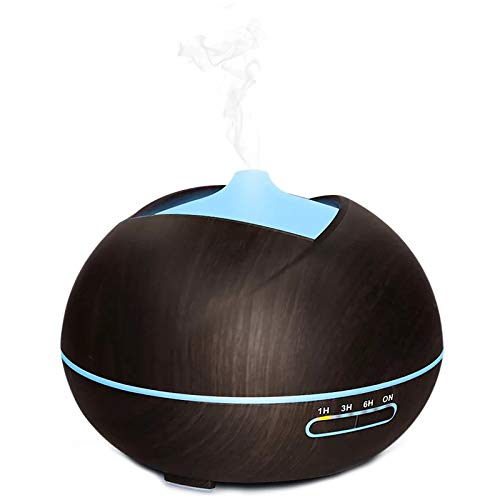 Cikuso Enchufe De La UE 400Ml Humidificador De Aire Difusor De Aromaterapia por Ultrasonidos con Led Luces De 7 Colores para Casa Difusor De Aceites Esenciales De Aroma Aromaterapia