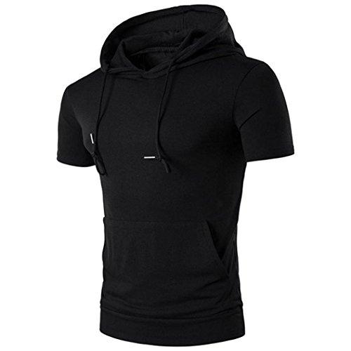 Für Nationalen Chinesischen Kostüm Männer (Sommer Lässige Oberteile Herren Mit Kapuze Amlaiworld Kurzarm T Shirt Bluse (Schwarz,)