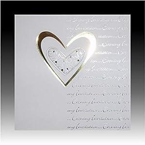 Shatchi INVITATIONS-257 - Invitaciones de boda (5 unidades), diseño de corazón, color blanco