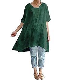 JiaMeng Moda Camisa de Manga Corta para Mujer Blusa de Lino Suelta de Moda Irregular de