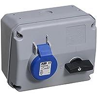 ABB 216MHS6 IP44 2P+E - Enchufe con interruptor (horizontal, termoplástico), color azul