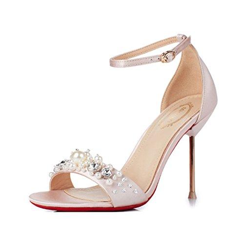 Yra Frauen Sandalen Peep-Toe Pearl Silk Schuhe Mit -