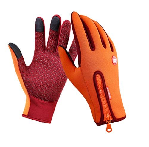Outdoor Winter Touchscreen Wasserdicht Warm Full Finger Bike Handschuhe Winter Radfahren Handschuhe Straße Mountainbike Fahrrad Handschuhe (Orange, XL)