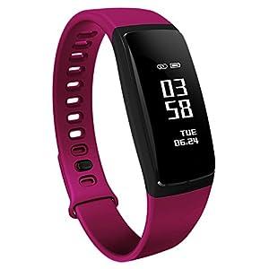 Loluka Unisex Fitness Tracker Digital Quarz Silikon Sportuhr Stoppuhr Wasserdicht Kontinuierliche Herzfrequenz Smartwatch Android IOS Lila