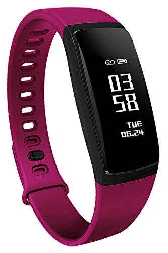Loluka Unisex Fitness Tracker Digital Quarz Silikon Sportuhr Stoppuhr Wasserdicht Kontinuierliche Herzfrequenz Smartwatch Android IOS Lila -