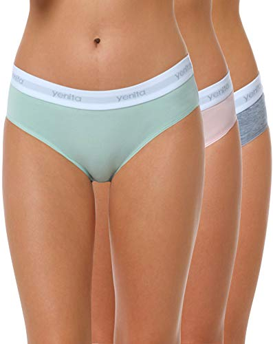 Yenita 3er Set Damen Underwear Modern-Sports-Collection, Hüftslip, Gemischt (Pink/Mint/Grau), Gr. L
