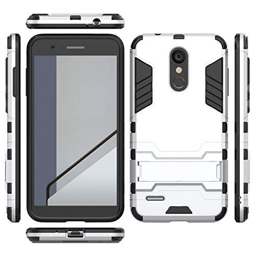 tinyue® Handyhülle für LG K9, Hülle 2 in 1 Material Harte Schwer doppelte kratzfester Handyfall im Freienhandyfall Iron Man Rüstung mit Kickstand Case, Silber -
