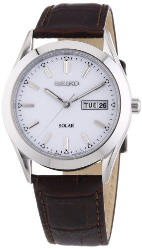 Seiko Herren-Armbanduhr XL Solar Analog Quarz Leder SNE037P2