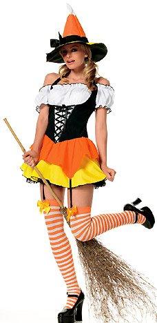 Halloween Hexe Damenkostüm 3-teilig mit Hexenhut, Kleid und Overknee Strümpfen - X-Small (Playboy Sexy Hexe Kostüme)