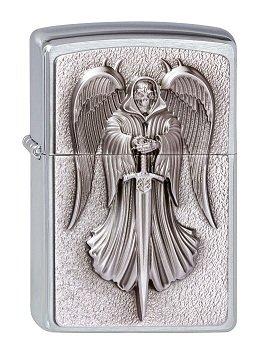 Zippo 2.002.999 - Mechero (Cromo Cepillado, Modelo de 2013), diseño de ángel de la Muerte