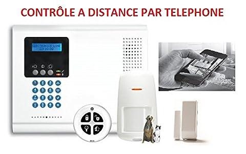 Kit Centrale d'alarme IConnect RTC/IP + 1 Infrarouge radio + 1 contact de porte + 1 telecommande
