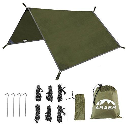 Tela cerata per tende, portatile, struttura impermeabile per tende, amache, rifugi, pioggia, sole, per pesca e escursioni, 3 x 3 m - colore verde militare