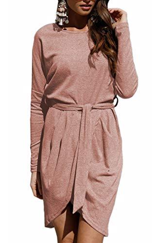 ECOWISH Damen Rundhals Kleid Beiläufiges Langarm Minikleid T-Shirt Kleid Mit Gürtel Kaffee L