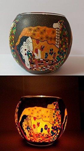 Windlicht aus Glas mit Teelicht Kuss Klimt