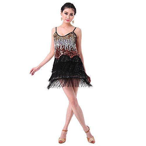 SymbolLife Fransenkleid mit Pailletten Damen Spaghetti Gradient Tanz Damen Hochzeitkleid Tanzkleid Partykleid Mini Charleston kleider Kleid Darbietungen Tanzkostüme für Karneval, (Schwarz Kostüme Mädchen Flapper)