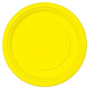 Unique Party Paquete de 16 platos de papel Color amarillo neón 23 cm 99155