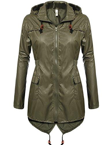 Beyove Damen Polk Dots Outdoor Funktions Regenjacke - Wassersäule - Atmungsaktivität Herbst Sommer Outdoorjacke (EU 38(Herstellergröße: M), Armee grün) -