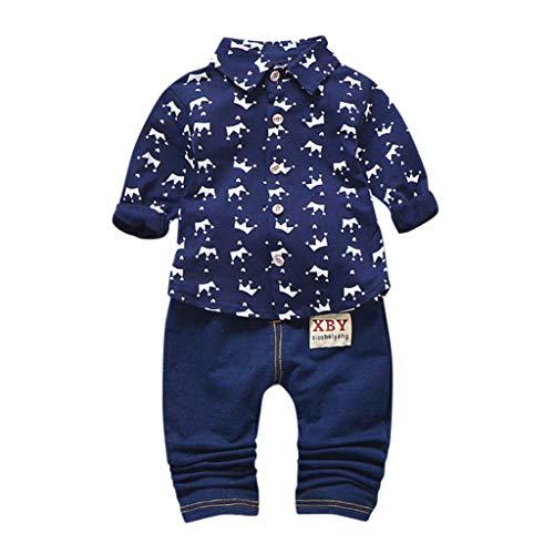 LEXUPE Kleinkind Kinder Jungen Langarm Kronenmuster Shirt Tops + Denim Hosen Set(Marine,90/M)