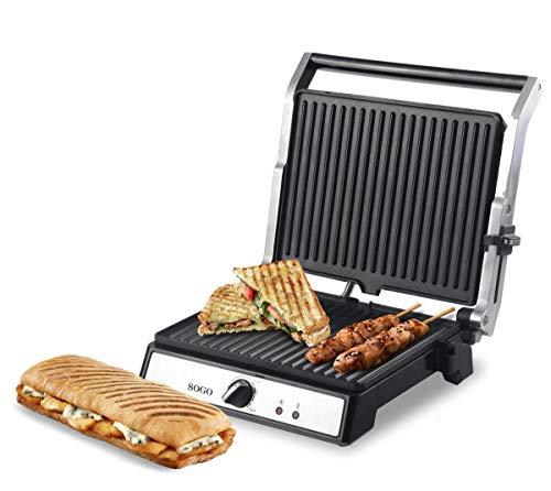 SOGO SAN-SS-7144 SS-7144 Sandwichmaker Press Öffnung 180, Panini Grill, Elektrogrill antihaftbeschichtet, 2000 W, Edelstahl, 29 23 cm