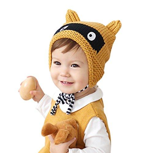 Babybekleidung Hüte & Mützen Longra Winter Blume Kids Baby Kinder Stricken Mütze Jungen Wintermütze Hüte Beanie Hut(42 - 50cm,0-2years) (yellow)