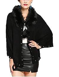 FOLOBE Invierno de Punto de Mujer de Piel sintética Poncho Capes Chal Cardigans Sweater Coat