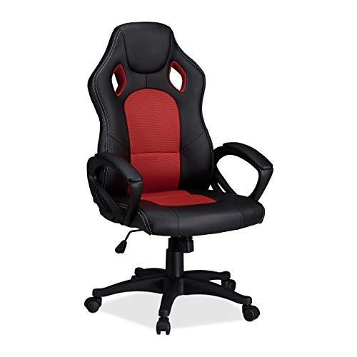 Relaxdays 10022876_47 Sedia da Gaming XR9 Poltrona Presidenziale Girevole da Gamer Comoda, Altezza Regolabile Design Racing Nero Rosso