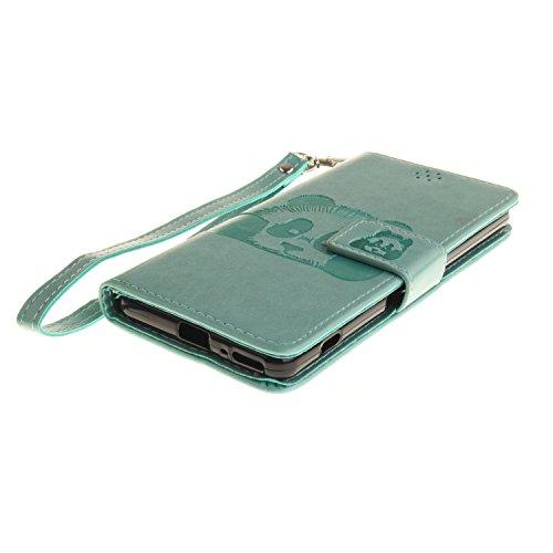 Custodia iPhone SE, custodia a portafoglio iPhone 5S in ecopelle Toymm PU con scomparti per carte di credito e chiusura magnetica, design in 3D, custodia di protezione intero corpo del telefono con pe Green