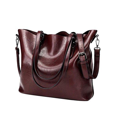 Fashion langlebig Frauen Retro Crossbody Bag Umhängetasche Handtasche Bucket Bag Tasche Oxford-Rot 32cm(L)*12cm(W)*29.5cm(H) (Stoff Tragetaschen Geldbörsen Wallets Handtaschen)