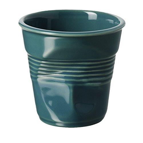 REVOL RV644773 Tasse espresso froissé porcelaine, lagune, 6.5 x 6.5 x 6 cm