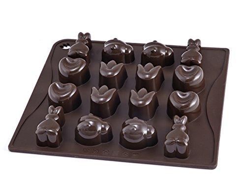chokoladenform Süßer Frühling, Form mit 16 frühlingshaften Motiven, Pralinenform aus hochwertigem Platinsilikon, (Farbe: braun), Menge: 1 Stück (Dr. Suess, Dekorationen)