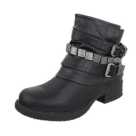 Western- & Bikerboots Damen-Schuhe Biker Boots Blockabsatz Warm Gefütterte Reißverschluss Ital-Design Stiefeletten Schwarz, Gr 39, 897-Pa-