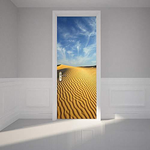 QMTZDQ TürPoster Wüste Selbstklebende Tür Wandbilder Asiatischen Badezimmer Wohnzimmer Dekoration wasserdichte Wandaufkleber,70 * 200CM - Asiatische Badezimmer