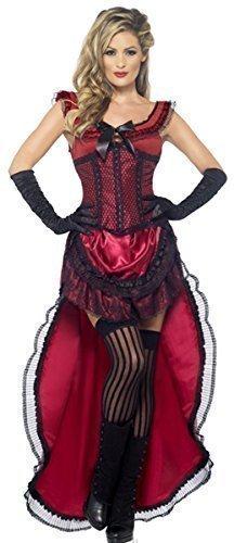 oder rosa sexy saloon-mädchen Burleske Puff Babe Wilder Westen Burleske Halloween Kostüm Kleid Outfit UK 8-18 - Rot, 8-10 (Saloon Mädchen Halloween Kostüme)