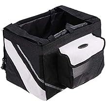 animal caja de transporte - Petcomer caja de transporte de portador de manillar portatil de animal domestico gato perro de bicicletas de color negro