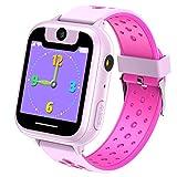 Niños Inteligente Relojes, Juegos de Pantalla táctil wach Sim Pantalla táctil Actividad de Chat de Voz de Llamada SOS para niños Escolares de 3 a 14 años de Edad (Pink)