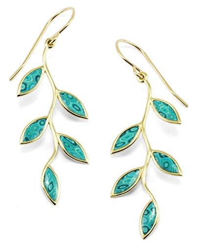 Parure Feuilles d'Or - Collier et Boucles d'oreilles fait main - Cadeau artisanal pour elle Turquoise