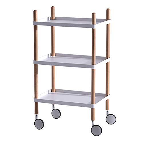 Salon Trolleys Holzwagen mit Rädern, Aufbewahrungs-Servierwagen, Mikrowellen-Arbeitsplatz-Regal (Color : White, Size : 3 Tier)